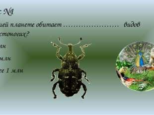Вопрос №1 На нашей планете обитает …………………. видов Членистоногих? 1 млн 1,5 мл