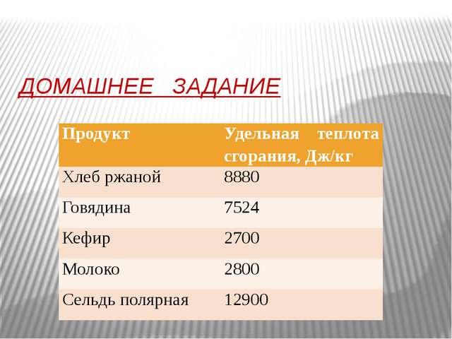 ДОМАШНЕЕ ЗАДАНИЕ Продукт Удельная теплота сгорания, Дж/кг Хлеб ржаной 8880 Го...