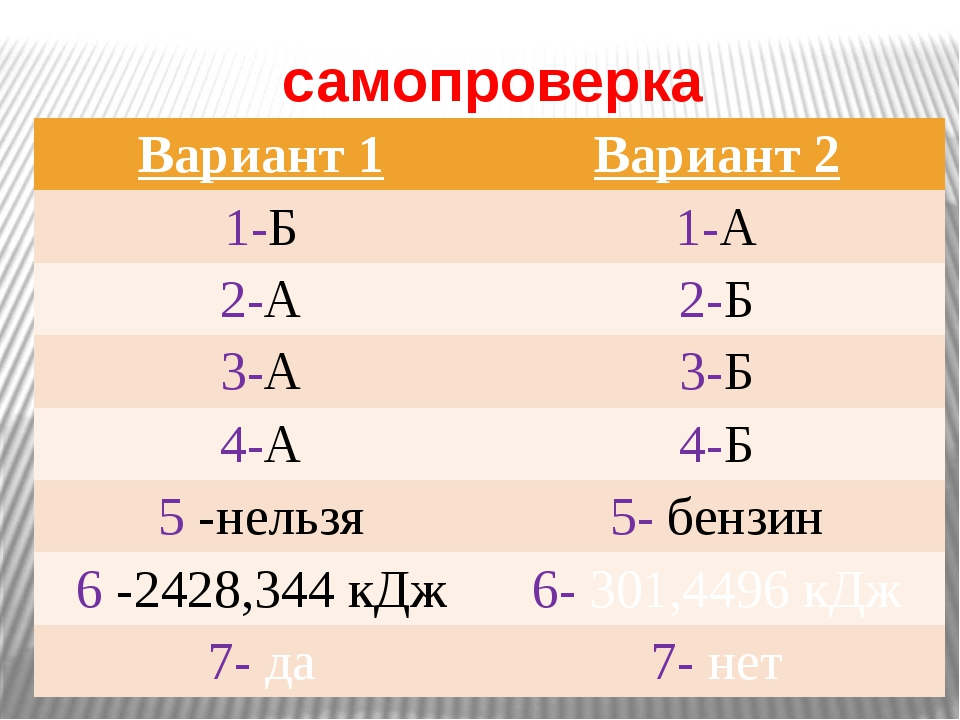 самопроверка Вариант 1 Вариант 2 1-Б 1-А 2-А 2-Б 3-А 3-Б 4-А 4-Б 5-нельзя 5-б...