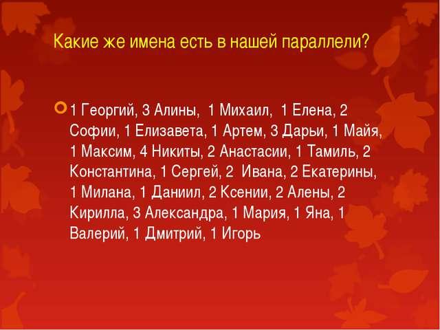 Какие же имена есть в нашей параллели? 1 Георгий, 3 Алины, 1 Михаил, 1 Елена,...
