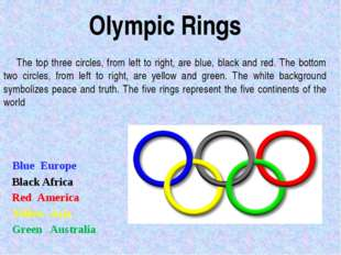 The top three circles, from left to right, are blue, black and red. The bott
