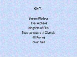 KEY: Stream Kladeos River Alpheos Kingdom of Ellis Zeus sanctuary of Olympia