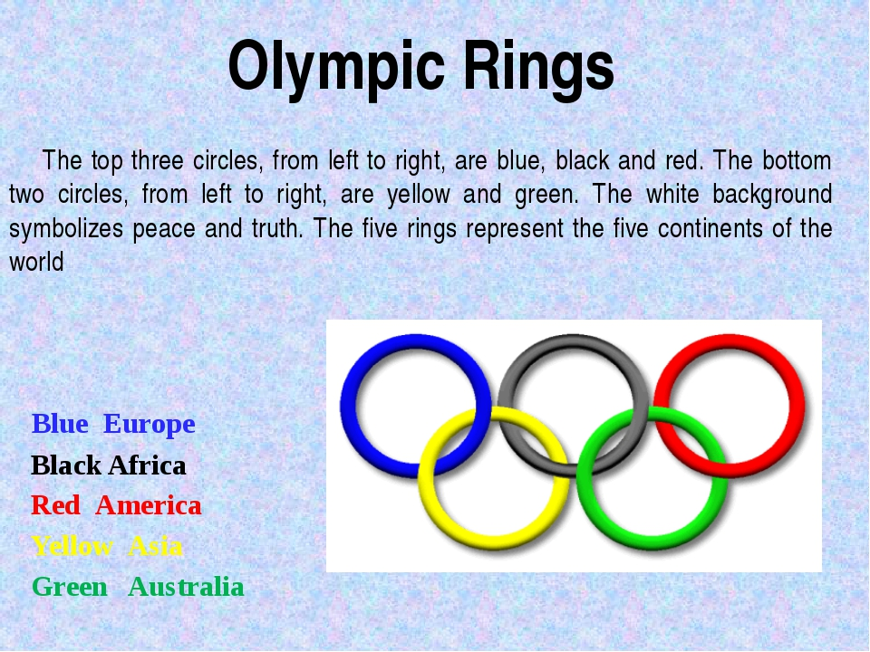 The top three circles, from left to right, are blue, black and red. The bott...