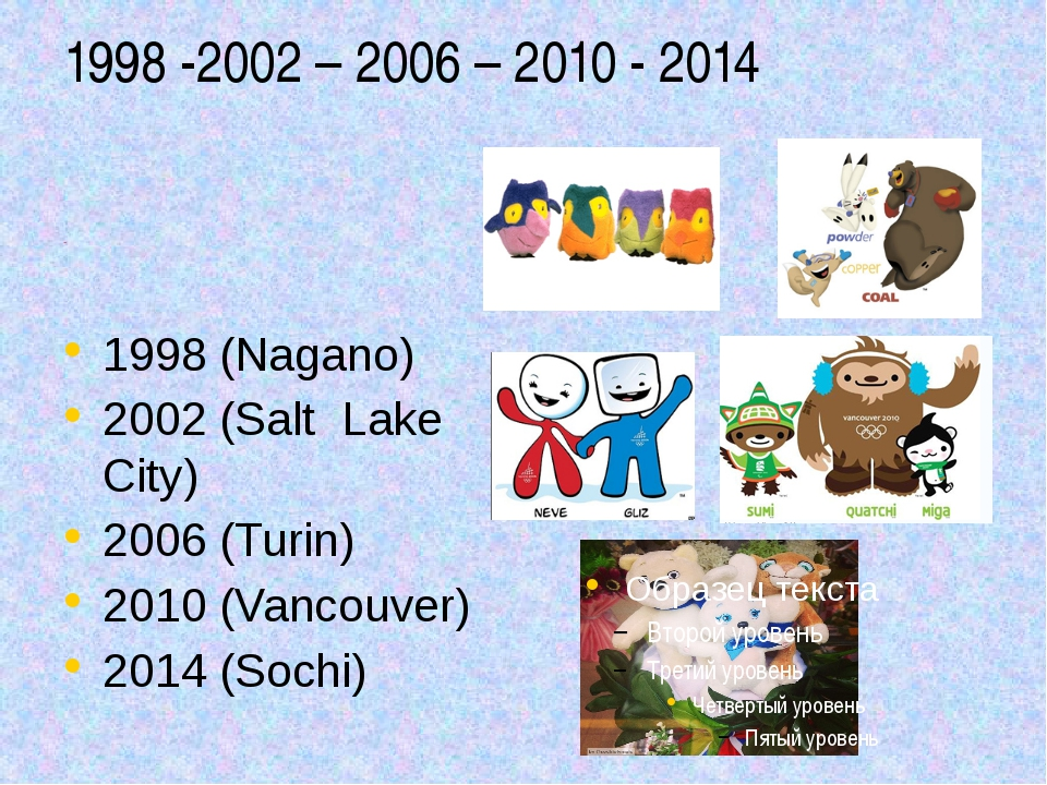 1998 -2002 – 2006 – 2010 - 2014 Talismans 1998 (Nagano) 2002 (Salt Lake City)...
