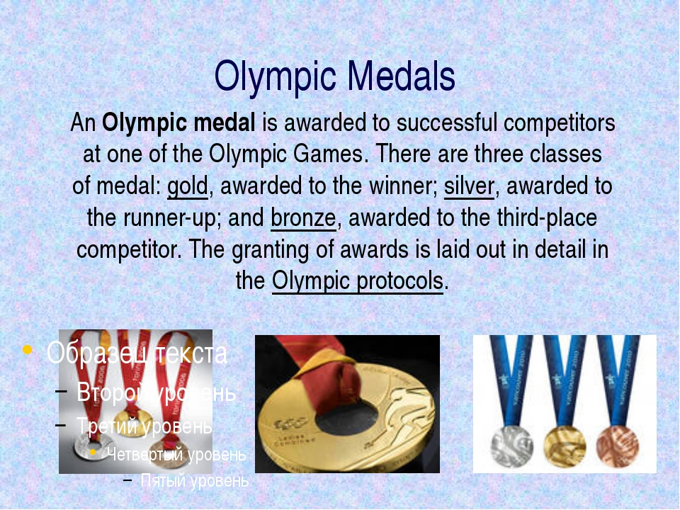 Olympic Medals An Olympic medal is awarded to successful competitors at one o...