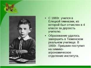 С 1883г. учился в Елецкой гимназии, из которой был отчислен в 4 классе за дер