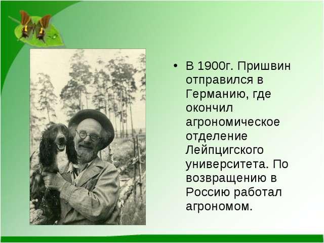 В 1900г. Пришвин отправился в Германию, где окончил агрономическое отделение...