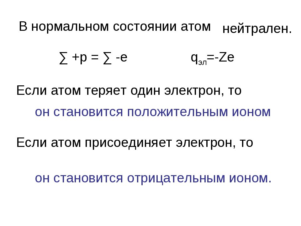 В нормальном состоянии атом нейтрален. ∑ +p = ∑ -e qэл=-Ze Если атом теряет о...