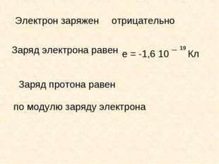 Электрон заряжен отрицательно Заряд электрона равен е = -1,6 10 ¯ Кл 19 Заряд