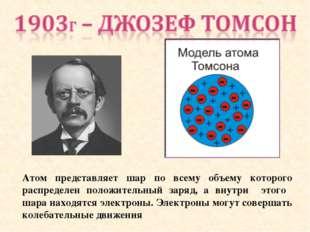 Атом представляет шар по всему объему которого распределен положительный заря