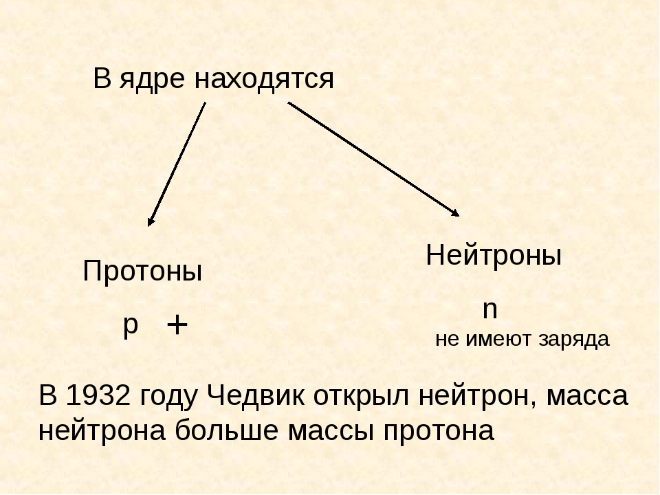В ядре находятся Протоны p Нейтроны n + не имеют заряда В 1932 году Чедвик от...