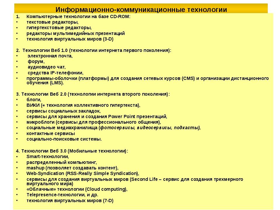 Информационно-коммуникационные технологии Компьютерные технологии на базе CD-...