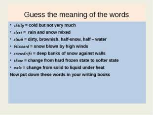 Guess the meaning of the words chilly = cold but not very much sleet = rain a