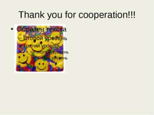 Thank you for cooperation!!!