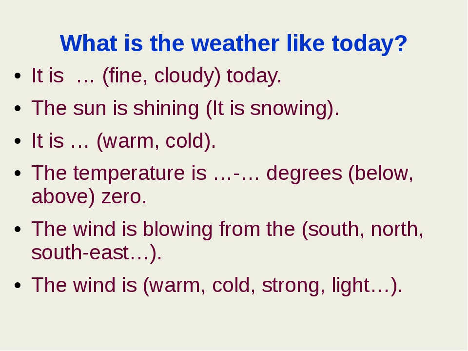 What is the weather like today? It is … (fine, cloudy) today. The sun is shin...