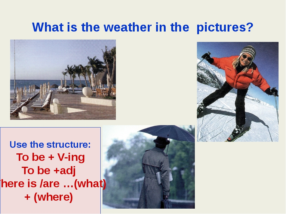 What is the weather in the pictures? Use the structure: To be + V-ing To be +...