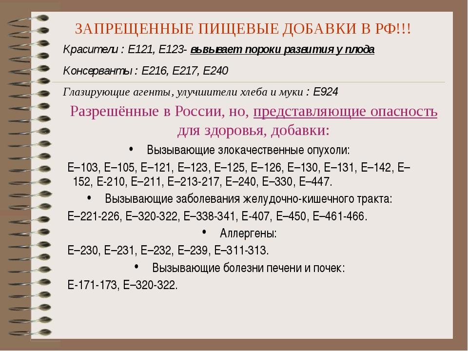 Разрешённые в России, но, представляющие опасность для здоровья, добавки: Выз...