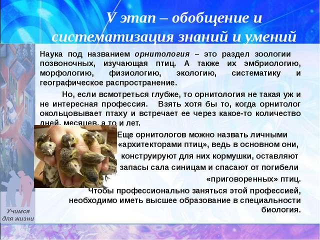 V этап – обобщение и систематизация знаний и умений Наука под названием орни...