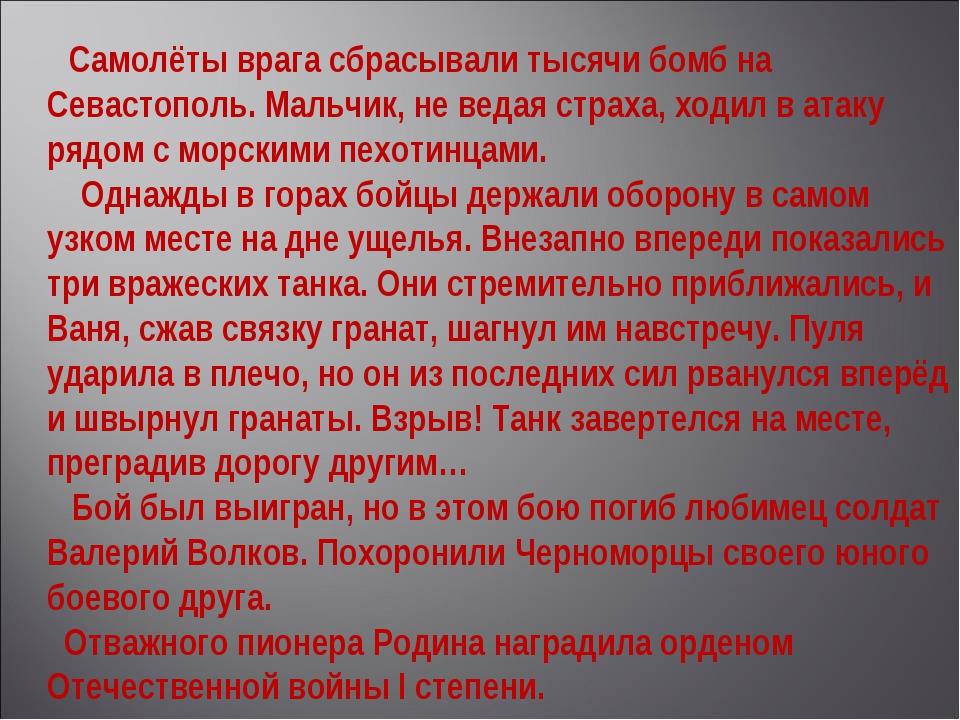 Самолёты врага сбрасывали тысячи бомб на Севастополь. Мальчик, не ведая стра...