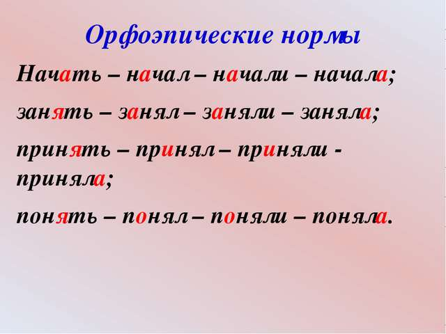 Орфоэпические нормы Начать – начал – начали – начала; занять – занял – заняли...
