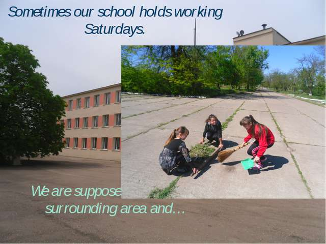 Sometimes our school holds working Saturdays. We are supposed to clean the su...