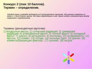 Конкурс 2 (max 10 баллов). Термин – определение. Каждый игрок в команде выбир