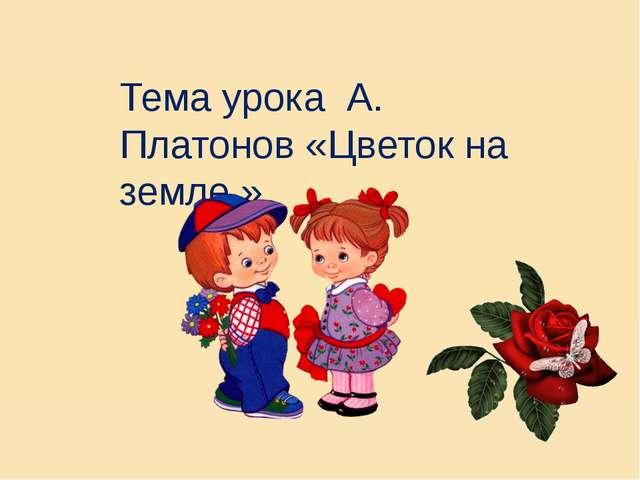 А платонов цветок на земле