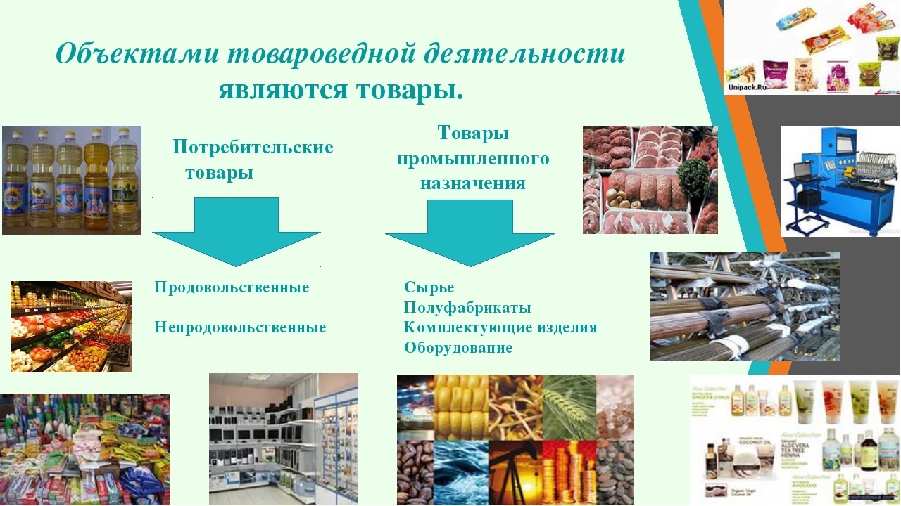 Объектами товароведной деятельности являются товары. Потребительские товары...