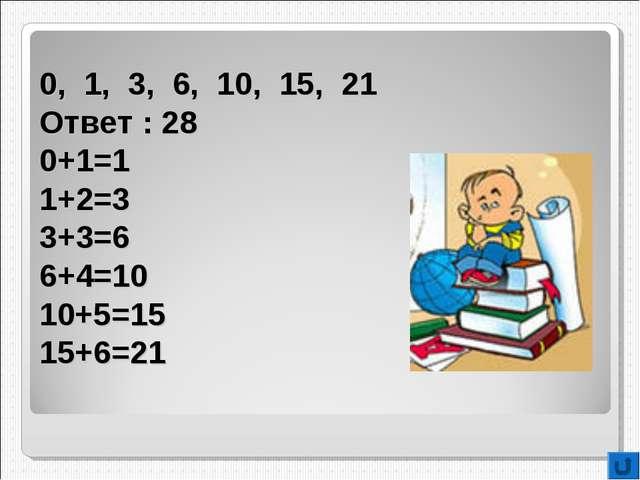 0, 1, 3, 6, 10, 15, 21 Ответ : 28 0+1=1 1+2=3 3+3=6 6+4=10 10+5=15 15+6=21