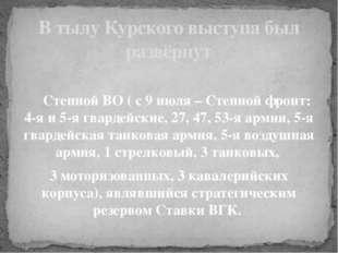 Степной ВО ( с 9 июля – Степной фронт: 4-я и 5-я гвардейские, 27, 47, 53-я