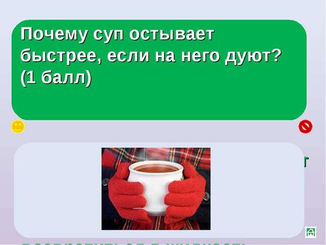 Почему суп остывает быстрее, если на него дуют? (1 балл) Скорость испарения з...