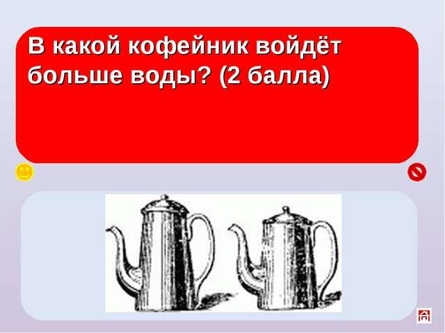 В какой кофейник войдёт больше воды? (2 балла) Одинаково, т. к. уровень воды...