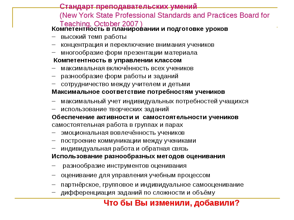 Стандарт преподавательских умений (New York State Professional Standards and...