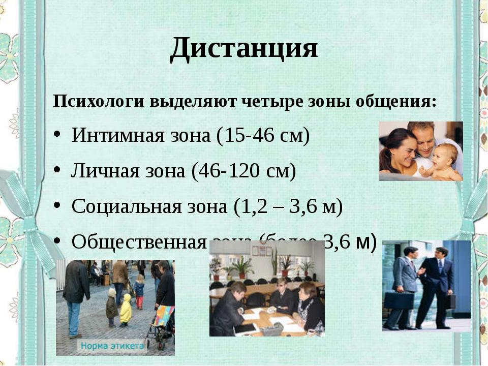 Дистанция Психологи выделяют четыре зоны общения: Интимная зона (15-46 см) Ли...