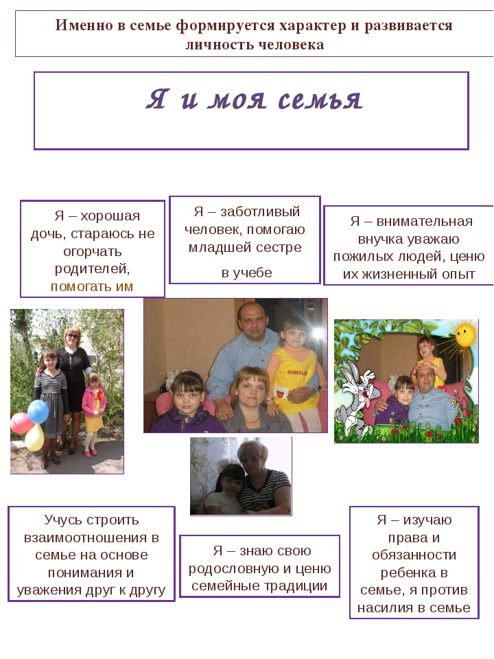 Я и моя семья Я – хорошая дочь, стараюсь не огорчать родителей, помогать им...