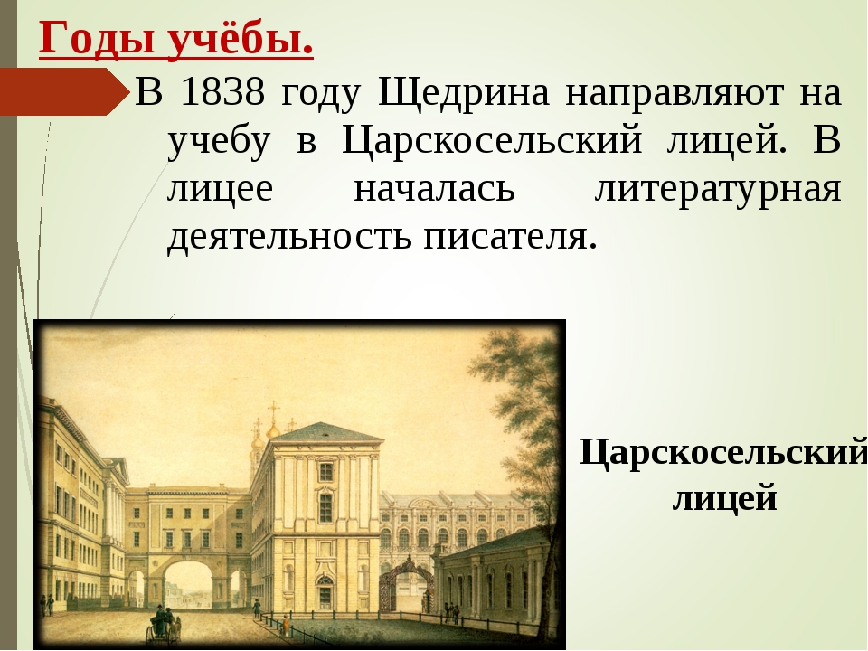 В 1838 году Щедрина направляют на учебу в Царскосельский лицей. В лицее начал...
