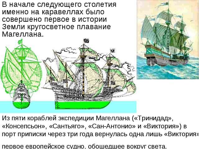 Из пяти кораблей экспедиции Магеллана («Тринидад», «Консепсьон», «Сантьяго»,...