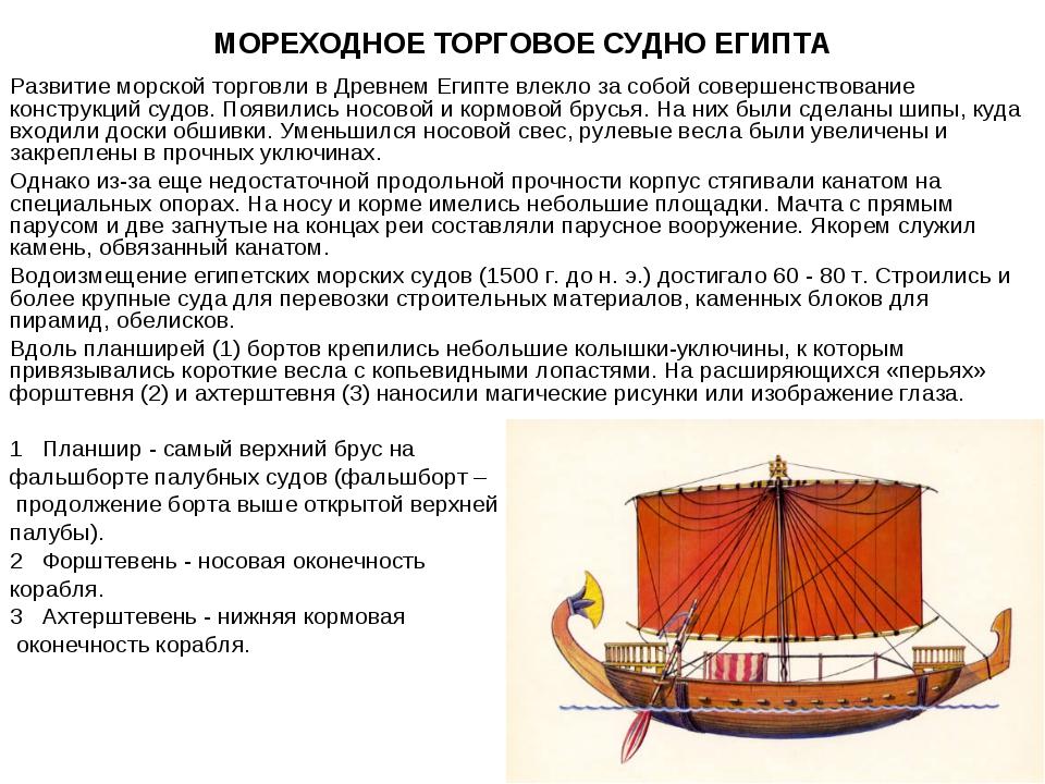 МОРЕХОДНОЕ ТОРГОВОЕ СУДНО ЕГИПТА Развитие морской торговли в Древнем Египте в...