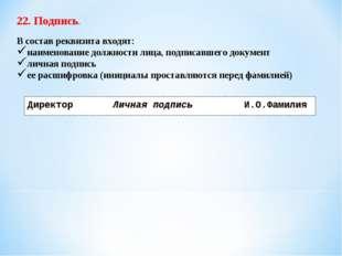 22. Подпись. В состав реквизита входят: наименование должности лица, подписав