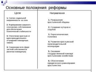 Основные положения реформы Цели 1. Разрушение крестьянской общины 2. Создание