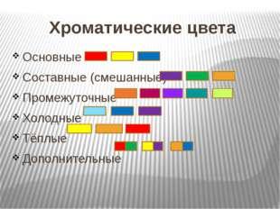 Хроматические цвета Основные Составные (смешанные) Промежуточные Холодные Тёп