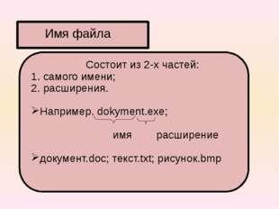 Состоит из 2-х частей: 1. самого имени; 2. расширения. Например. dokyment.ex