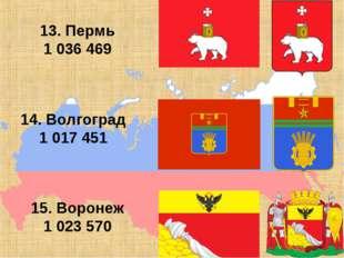 13. Пермь 1 036 469 14. Волгоград 1 017 451 15. Воронеж 1 023 570