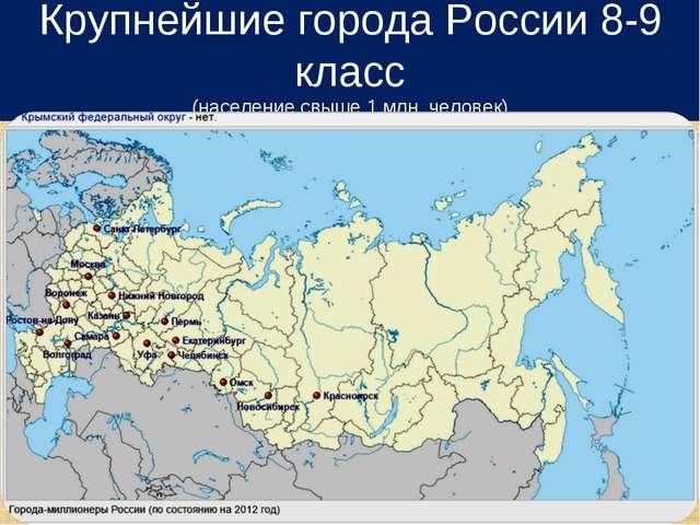 Крупнейшие города России 8-9 класс (население свыше 1 млн. человек)