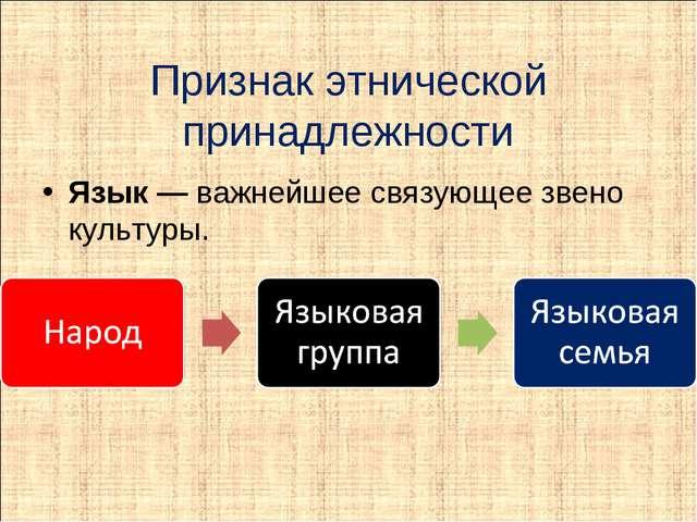 Признак этнической принадлежности Язык — важнейшее связующее звено культуры.