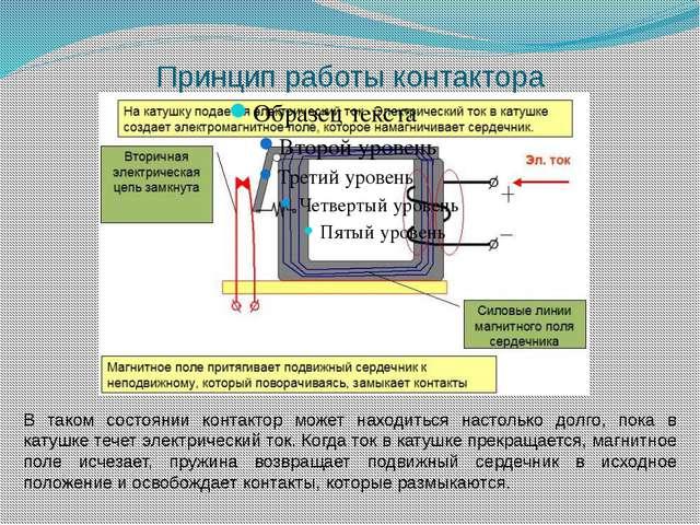 Принцип работы контактора В таком состоянии контактор может находиться настол...
