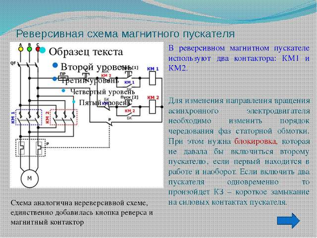 Реверсивная схема магнитного пускателя В реверсивном магнитном пускателе испо...