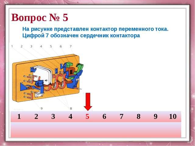 Вопрос № 5 На рисунке представлен контактор переменного тока. Цифрой 7 обозн...