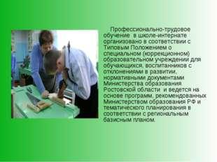 Профессионально-трудовое обучение в школе-интернате организовано в соответст