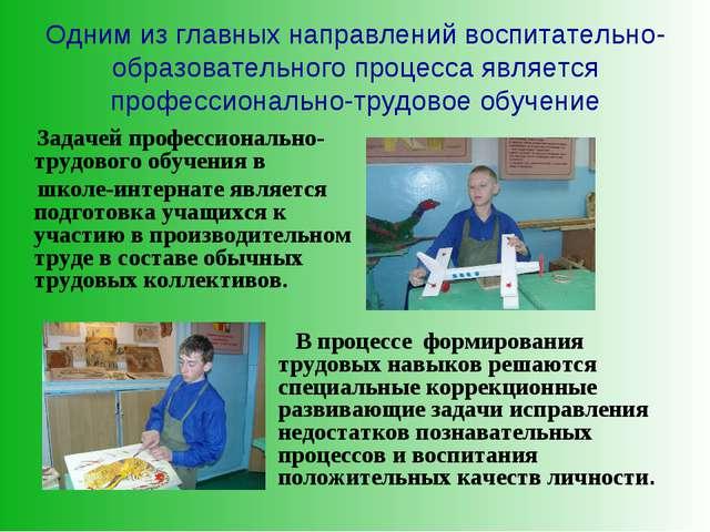 Одним из главных направлений воспитательно-образовательного процесса является...